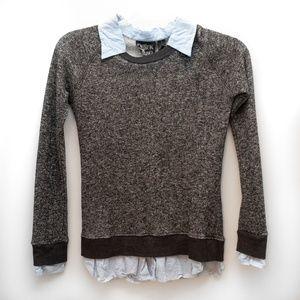Derek Heart Heather Grey Sweatshirt w Under Blouse